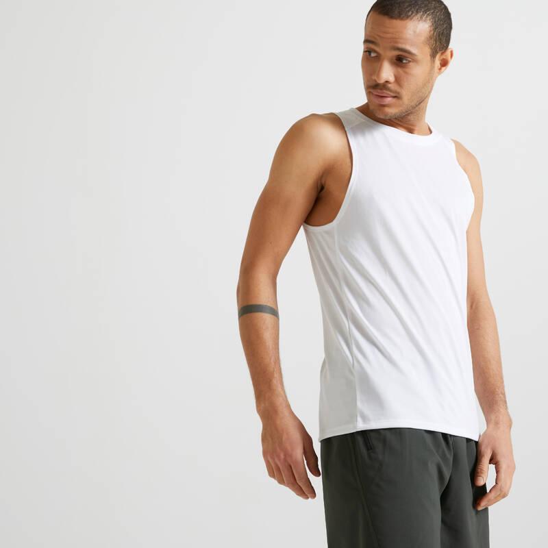 PÁNSKÉ OBLEČENÍ NA FITNESS, ZAČÁTEČNÍCI Fitness - SPORTOVNÍ TÍLKO 100 BÍLÉ DOMYOS - Fitness oblečení a boty