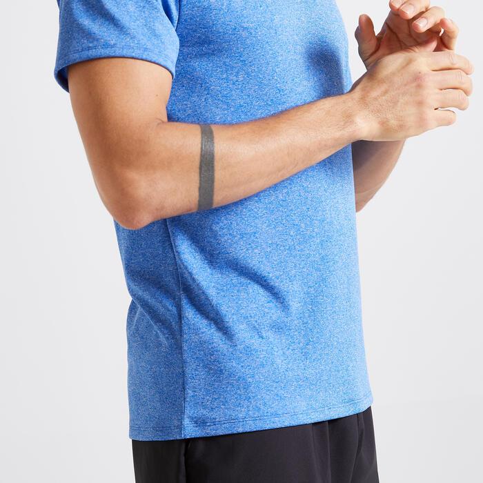 Technisch shirt voor fitness gemêleerd blauw