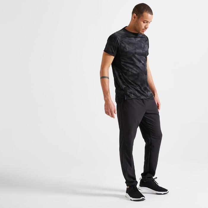 男款有氧健身訓練環保運動褲120 - 黑色