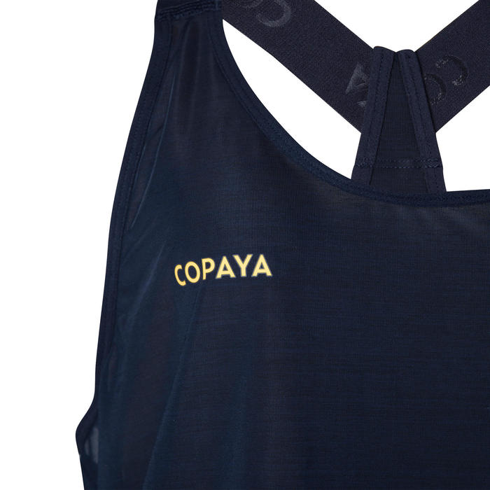Débardeur de beach-volley femme BVD500 bleu et jaune