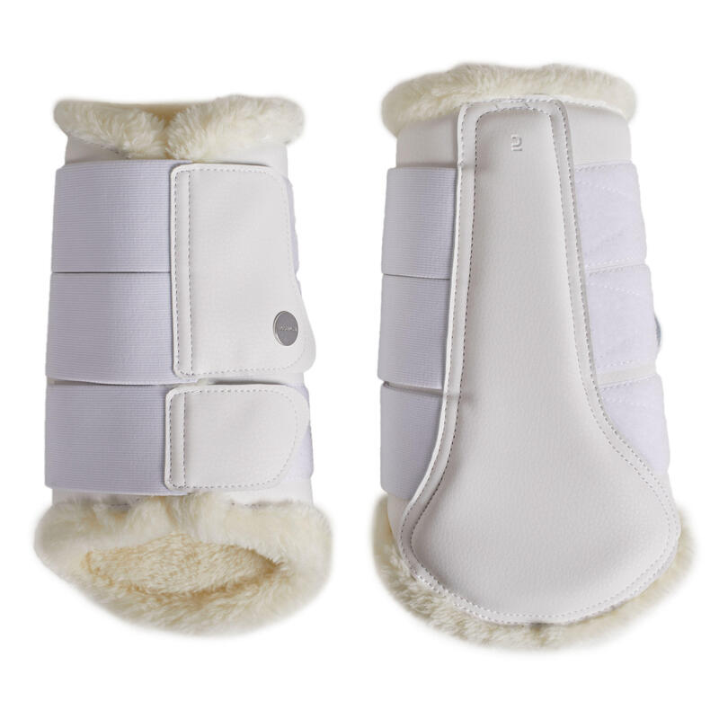 Horse Dressage Synthetic Sheepskin Brushing Boots 500 Twin-Pack - White