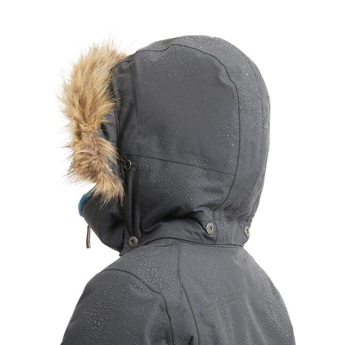 Parka équitation enfant imperméable et chaude 500 WARM gris et pétrole