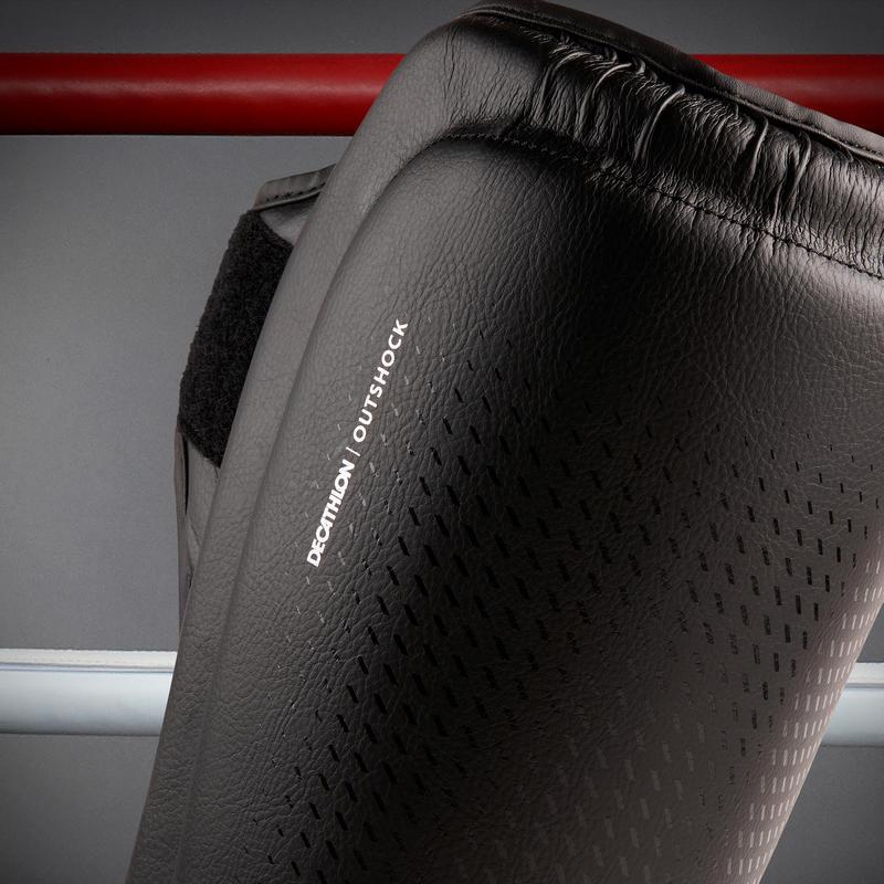 สนับแข้งและเท้าสำหรับผู้ใหญ่ใช้ฝึกคิกบ็อกซิ่ง/มวยไทยรุ่น 900 (สีดำ)