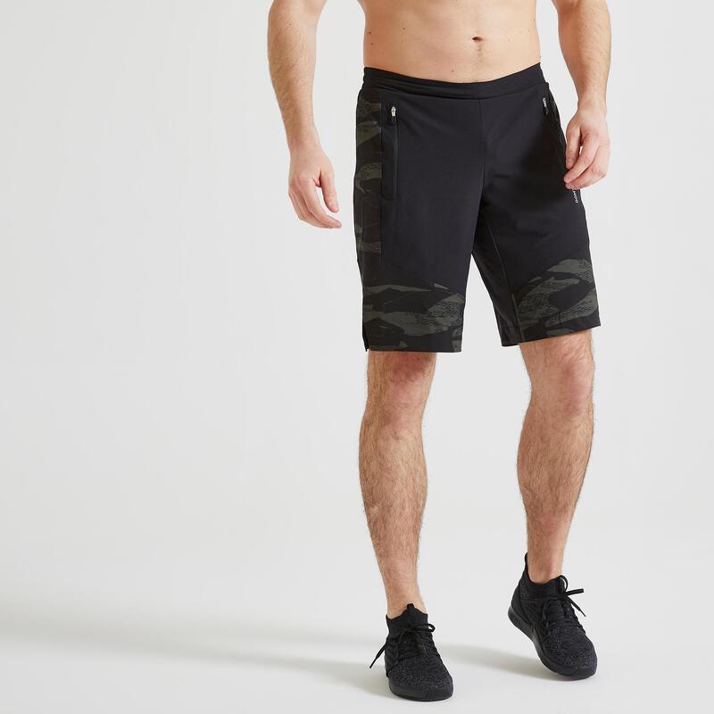 Short fitness cardio training homme kaki noir camo 500 éco-responsable
