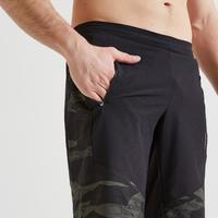 Short fitness cardio training hombre caqui negro camuflaje 500 eco-responsable