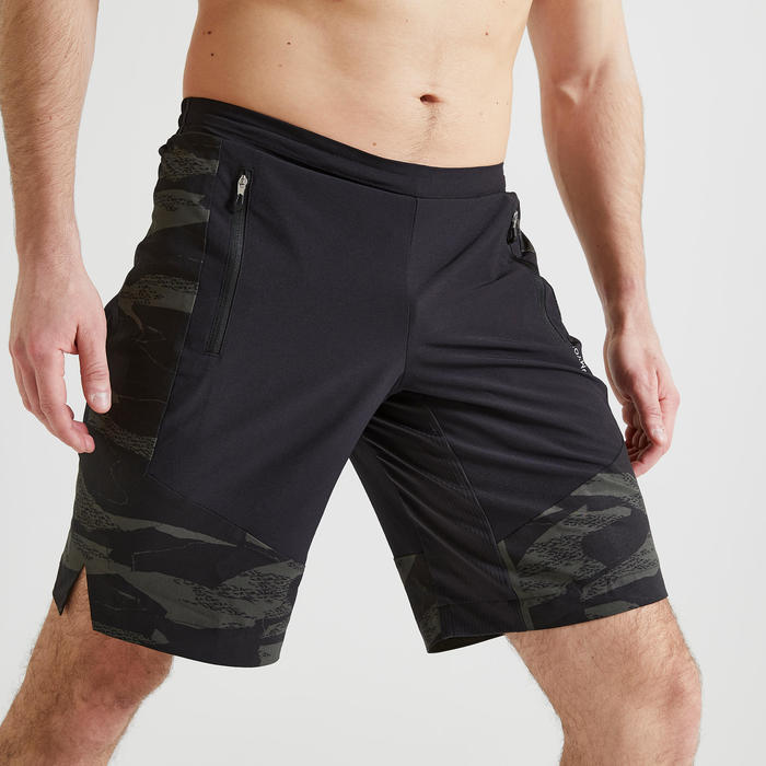 Short fitness cardio training homme kaki noir camo 500 éco-responsable
