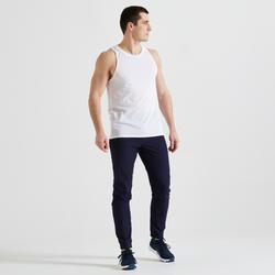 男款有氧健身訓練長褲500-軍藍色