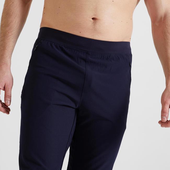 Men's Slim Fit Fitness Bottoms 500 - Navy Blue