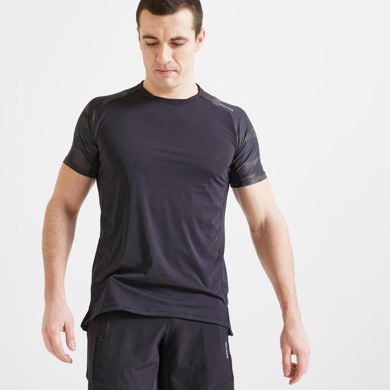 T-shirt fitness cardio training homme noir kaki camo 500