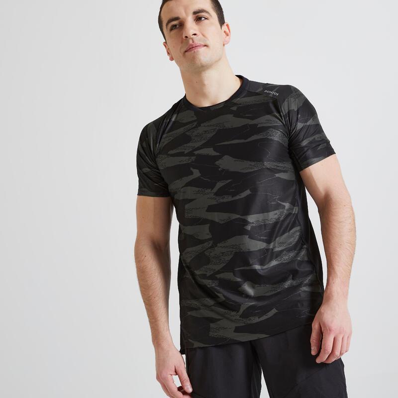 T-shirt voor cardiofitness heren 500 kaki camouflageprint