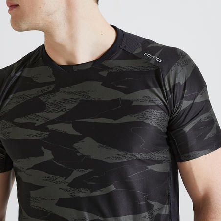 Men's Fitness Cardio Training T-Shirt 500 - Khaki/Camo Print