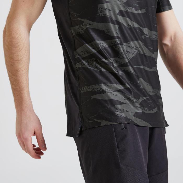 T-shirt Fitness Cardio Training homme kaki imprimé camo 500