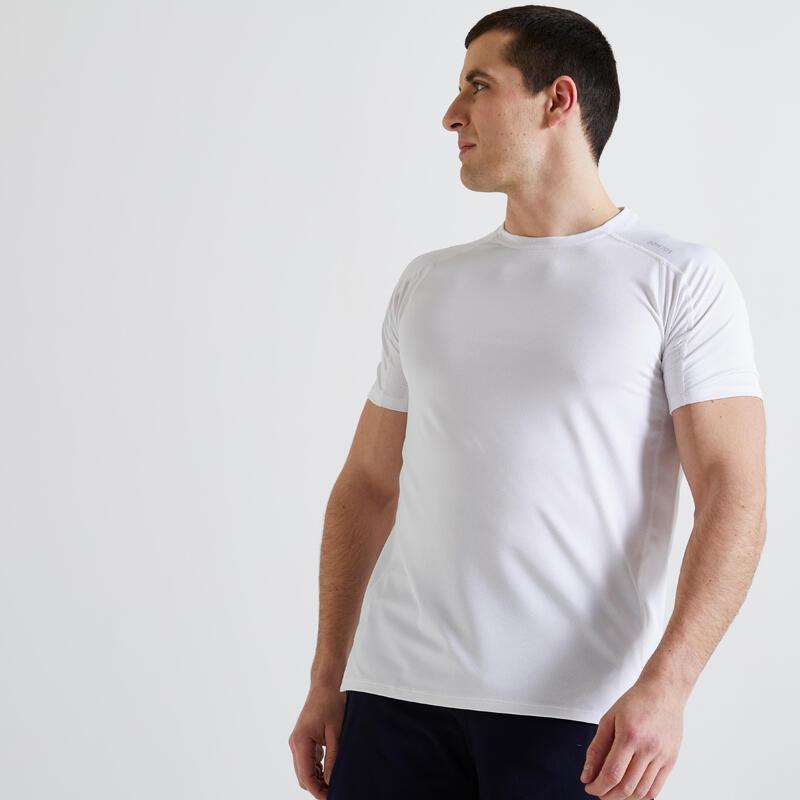 T-shirt voor cardiofitness heren 500 milieuvriendelijk 100% mesh wit
