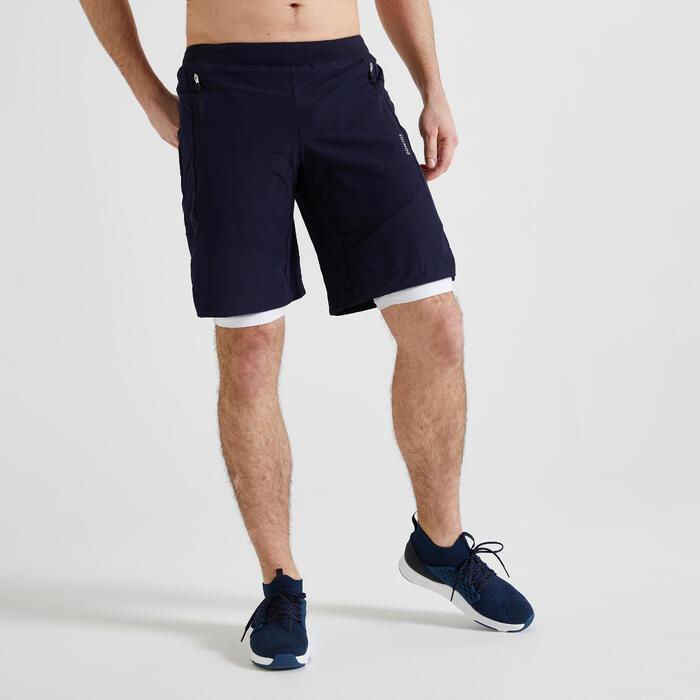 2-in-1 short voor cardiofitness heren 500 marineblauw