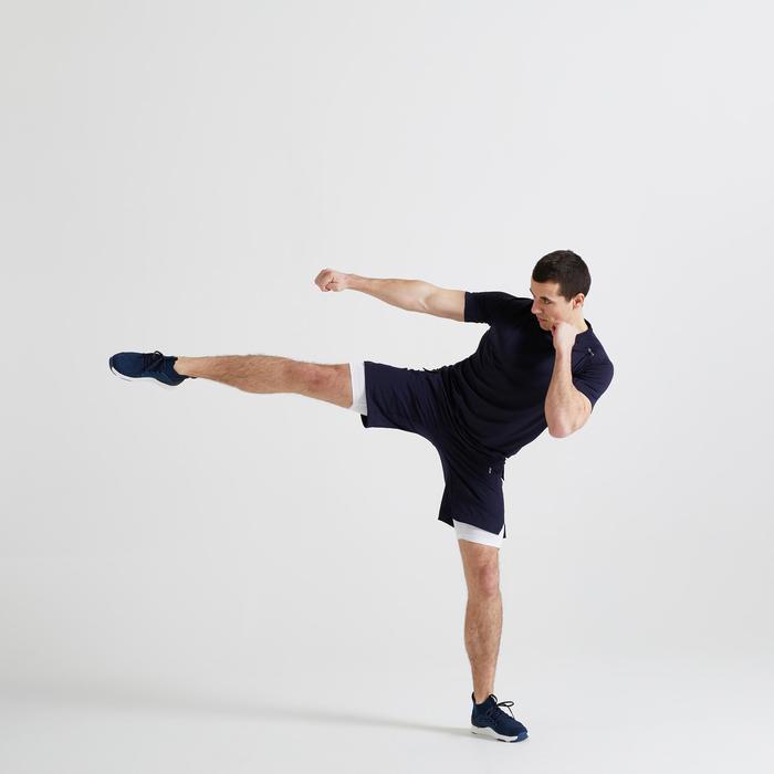 Short fitness cardio training homme deux-en-un bleu marine 500