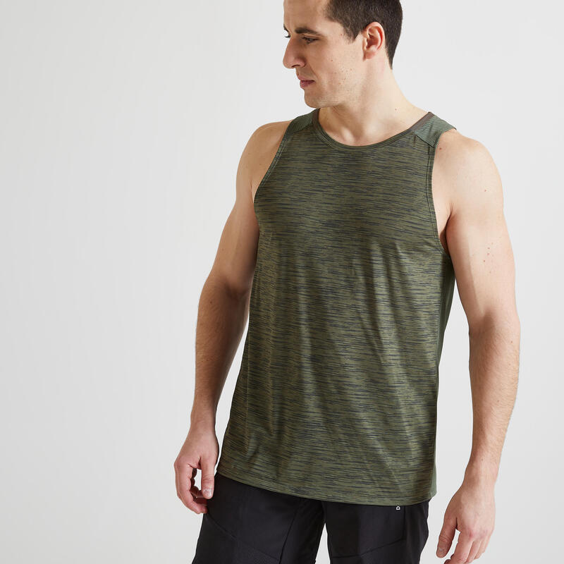 Fitness Cardio Training Tank Top 500 - Khaki