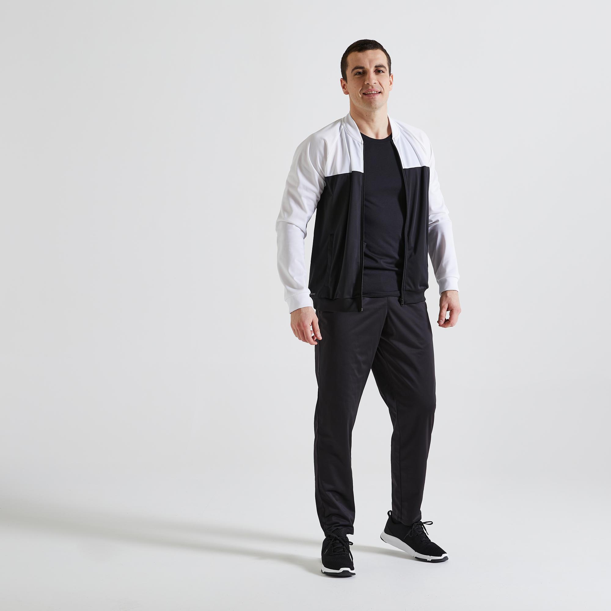 Trainingsanzug Fitness Cardio Herren schwarz/weiss | Sportbekleidung > Sportanzüge > Trainingsanzüge | Domyos