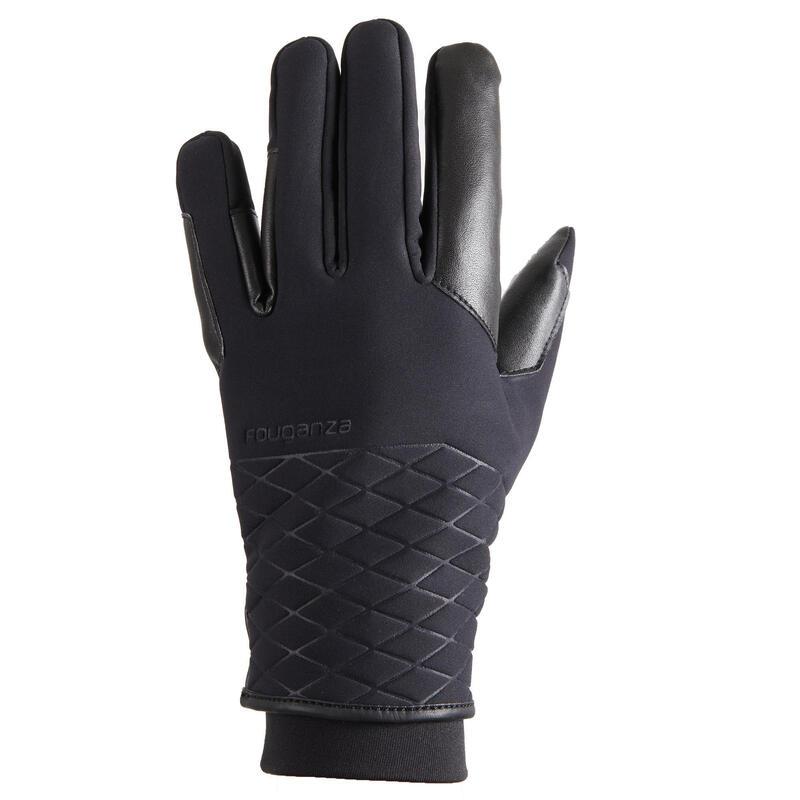 Gants d'équitation chauds et imperméables Femme - 900 WARM noir