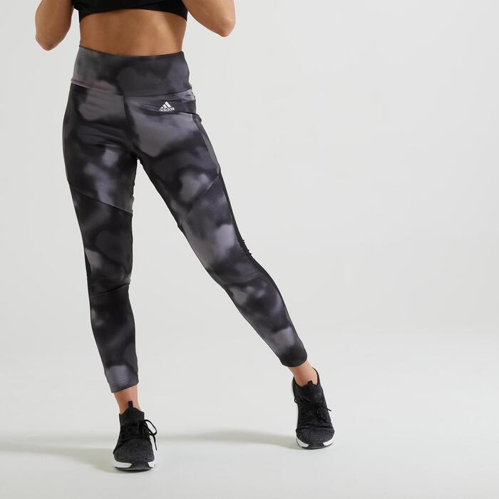 Legging voor cardiofitness dames print zwart