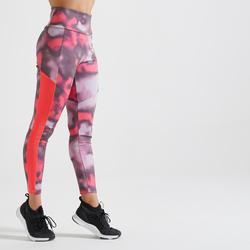 Legging voor cardiofitness dames roze print