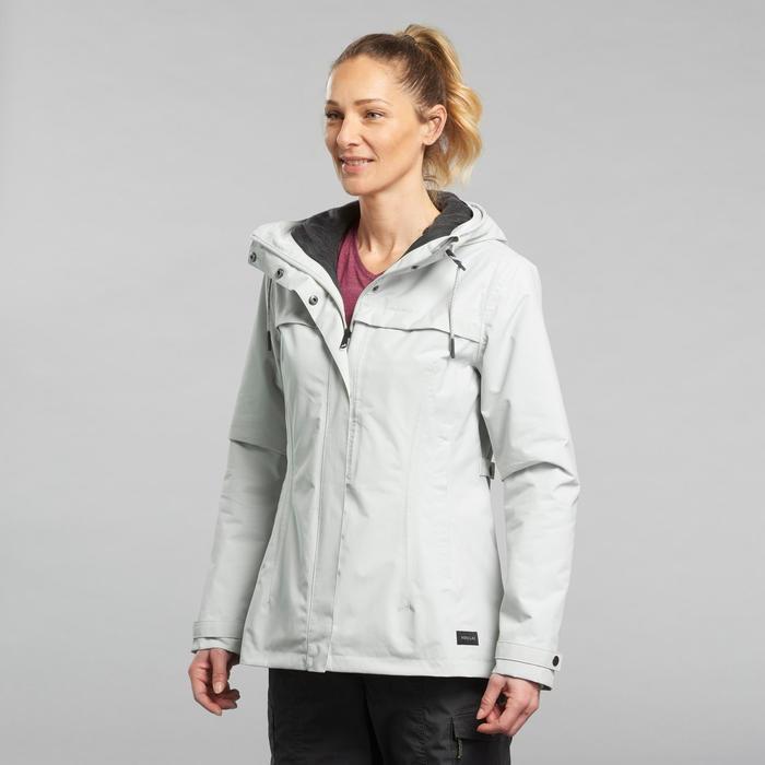 Waterdichte 3-in-1 jas voor backpacken dames Travel 100 comfort 0°C lichtgrijs