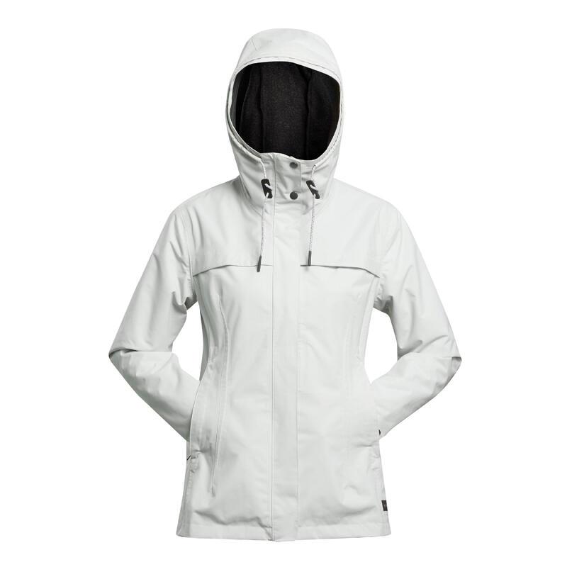 Veste 3en1 imperméable confort 0°C de trek voyage - TRAVEL 100 gris clair -femme