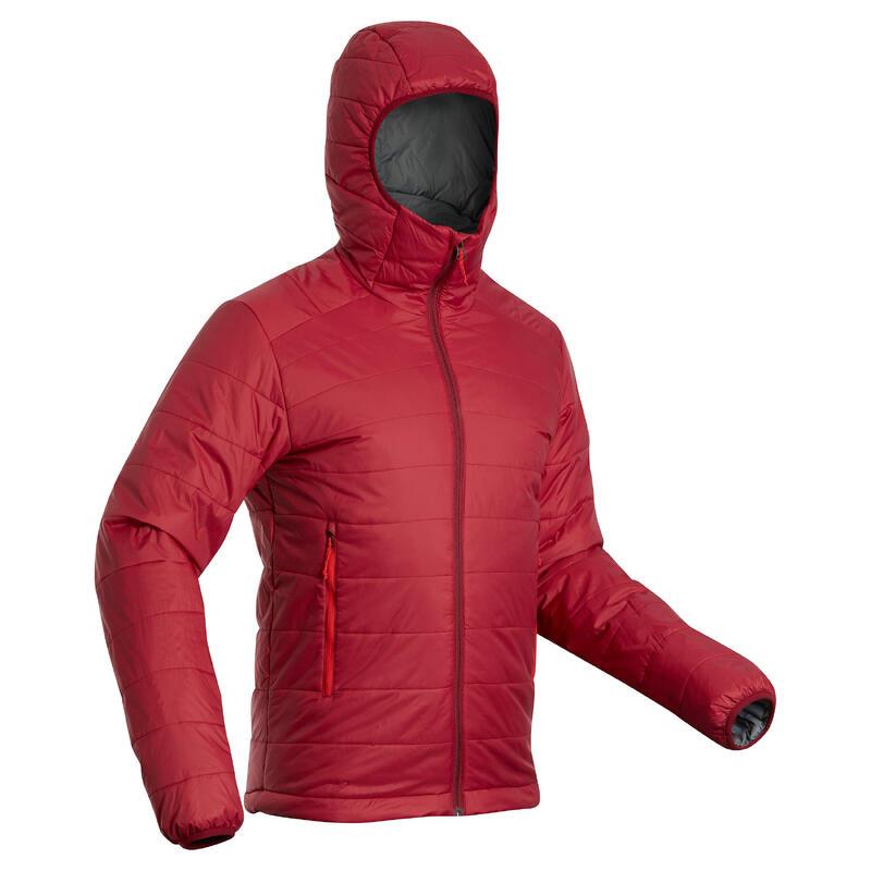 Doudoune synthétique de trek montagne - TREK 100 capuche -5°C - rouge homme