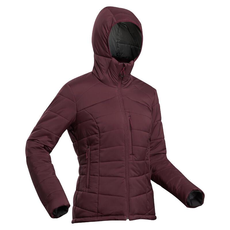 Women's Trekking Padded Jacket with Hood - Comfort -10° - TREK 500 - Bordeaux