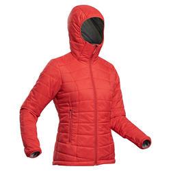 Doudoune en ouate de trek montagne - confort -5°C - TREK 100 capuche rouge femme