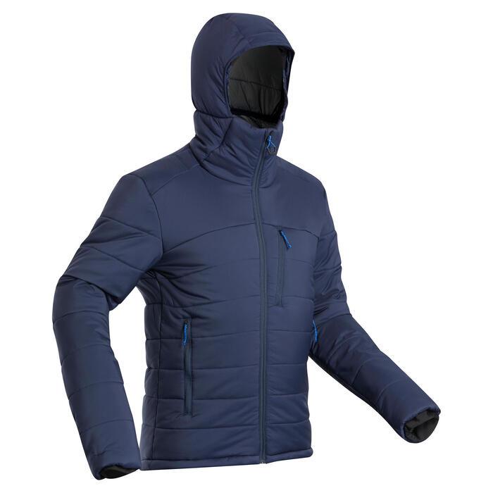 Doudoune en ouate de trek - confort -10°C - TREK 500 capuche marine - homme