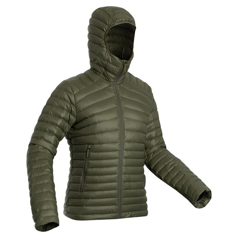 Donsjas voor bergtrekking heren TREK 100 comforttemperatuur -5°C kaki