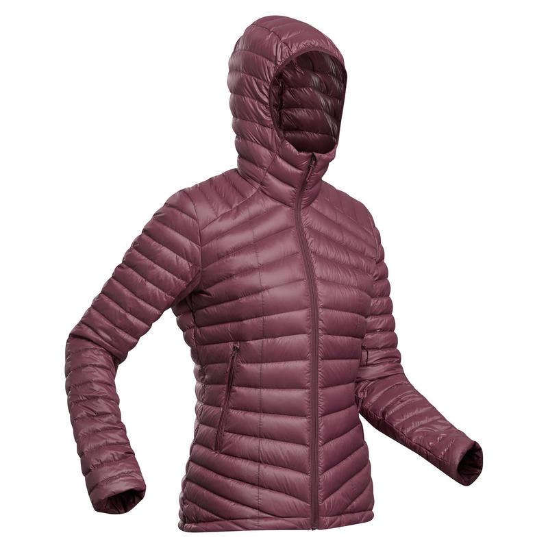 Women's Mountain Trekking Down Jacket - TREK 100 -5°C - Bordeaux