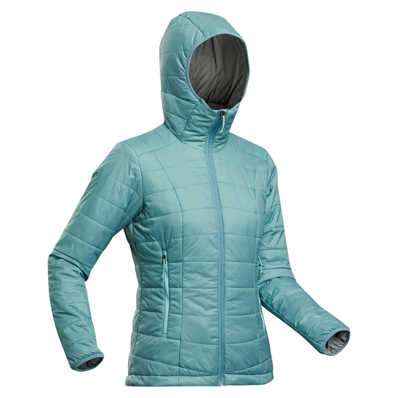 W's Synthetic Mountain Trekking Padded Jacket - MT 100 Hooded -5°C - Turquoise