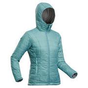 Women's Mountain Trekking Padded Jacket - TREK 100 with Hood - Turquoise