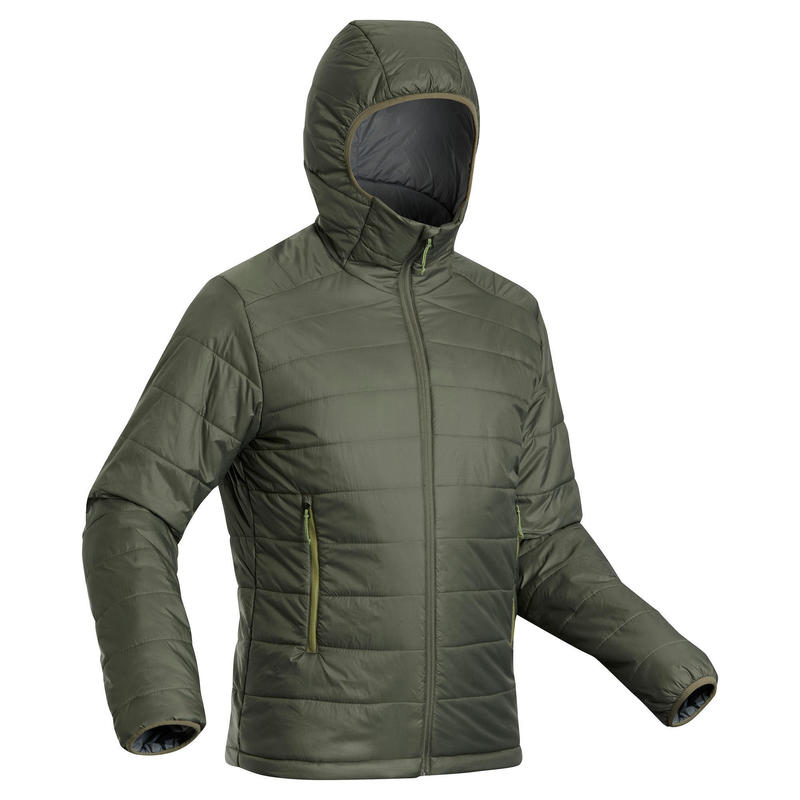 Doudoune synthétique de trek montagne - TREK 100 capuche -5°C - kaki homme