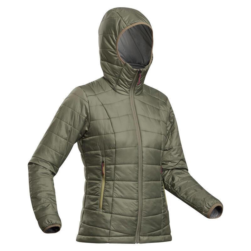 Women's Synthetic Mountain Trekking Padded Jacket - MT 100 Hooded -5°C - Khaki