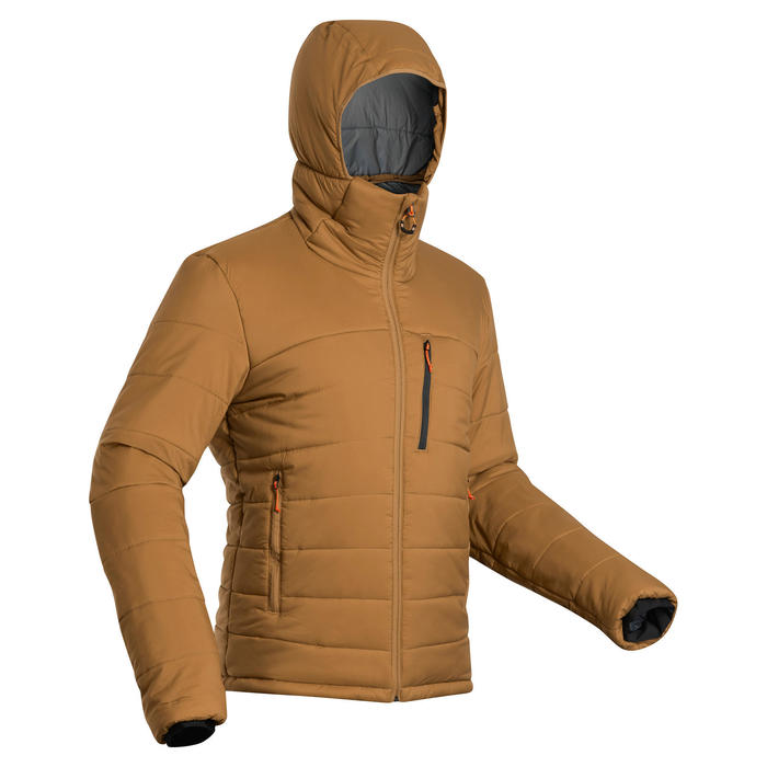 Doudoune en ouate de trek - confort -10°C - TREK 500 capuche marron - homme