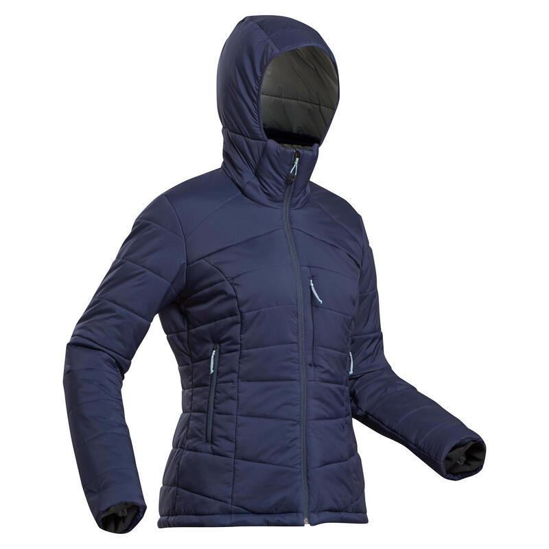 Women's Trekking Padded Jacket with Hood - Comfort -10° - TREK 500 - Navy Blue