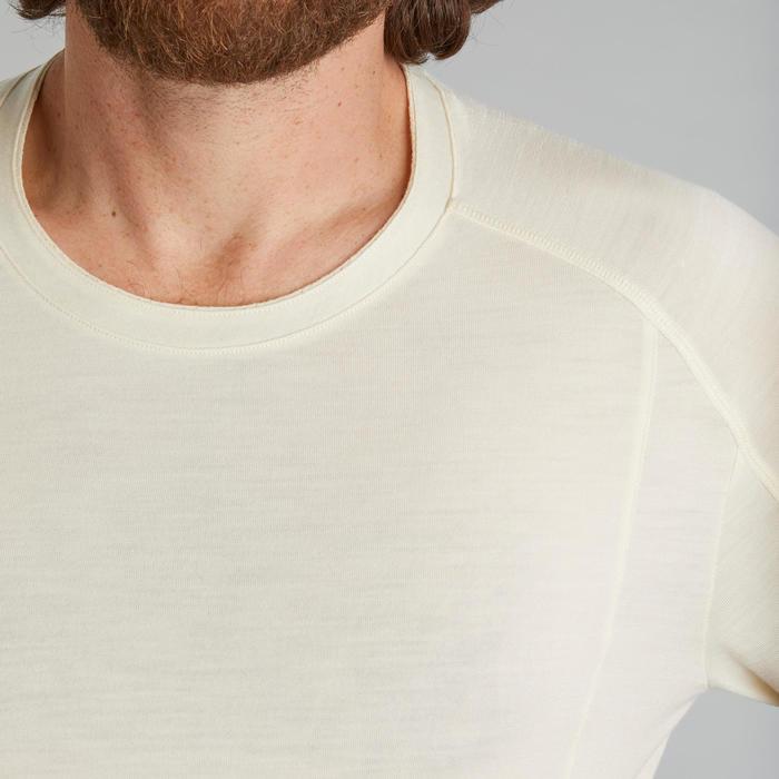 T-shirt mérinos manches longues de trek montagne - TREK 500 greige - homme