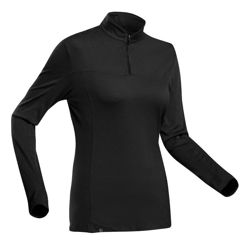 T-shirt manches longues de trek montagne - TREK 500 MERINOS ZIP NOIR - FEMME