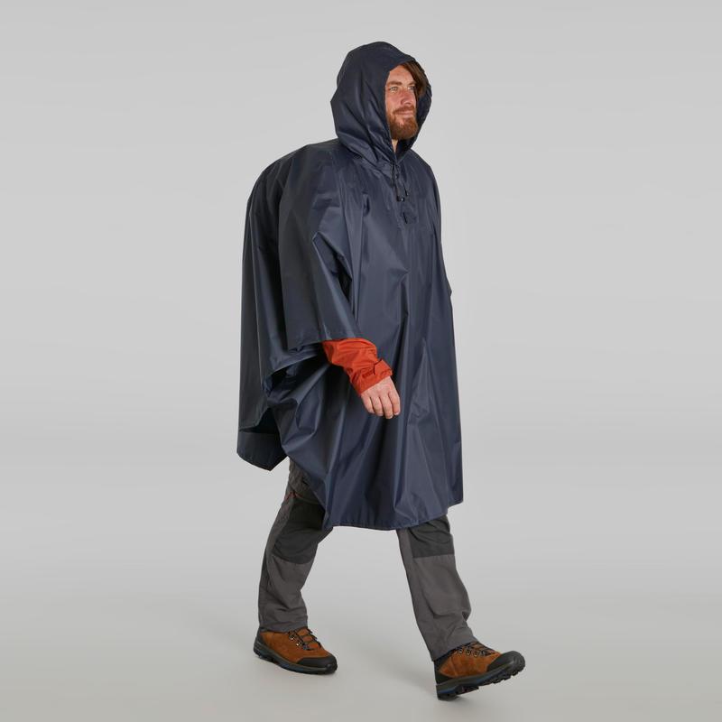 Hiking Rain Poncho - TREK 100 Blue