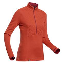 Merinoshirt met ritskraag voor bergtrekking dames Trek 900 oranje