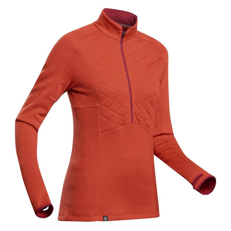 Women's Mountain Trekking Merino Wool Zip Neck T-Shirt - Trek 900 - Orange