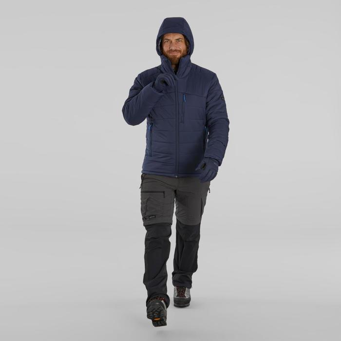 Gewatteerde jas voor trekking heren comfort -10°C Trek 500 capuchon marineblauw
