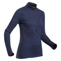 T-Shirt van merinowol voor bergtrekking met rits Dames Trek 900 blauw