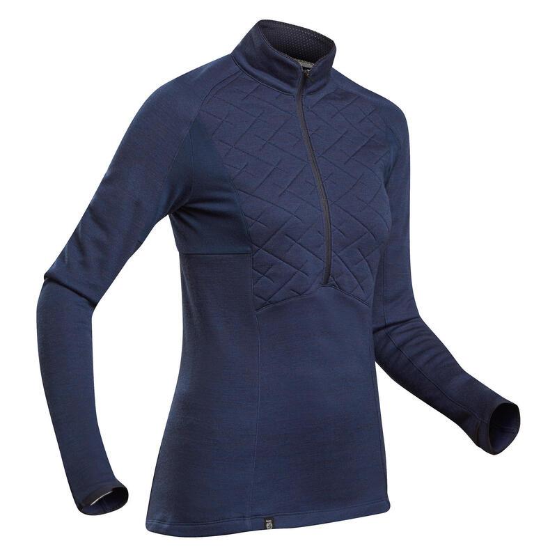 Women's Mountain Trekking Merino Wool T-Shirt and Zip Collar Trek 900 - blue