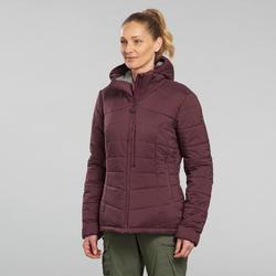 Doudoune en ouate de trek - Confort -10° - TREK 500 Capuche Bordeaux - Femme