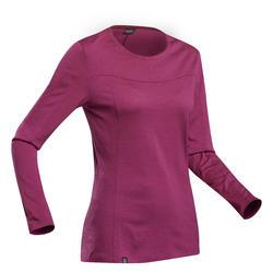 Merino shirt voor bergtrekking dames Trek 500 lange mouwen paars