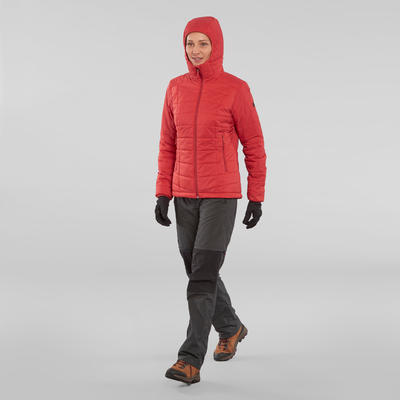 Doudoune de trek en montagne TREK 100 capuche rouge brique - femme