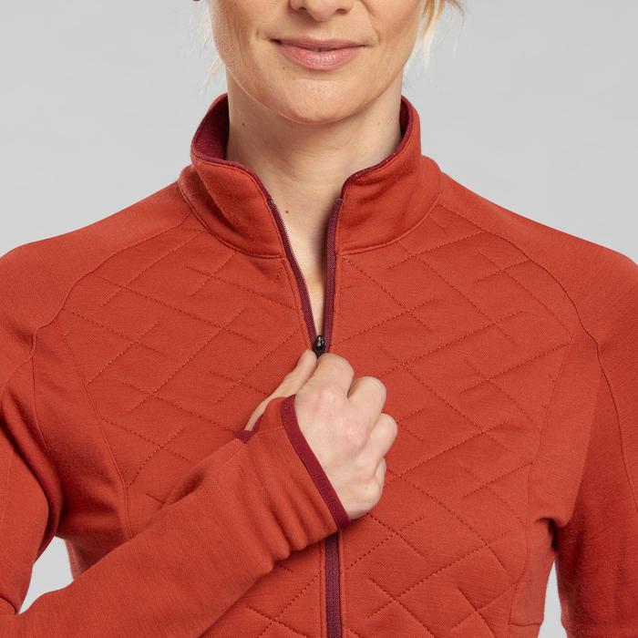 T-shirt laine mérinos et col zippé de trek montagne - Trek 900 orange - femme